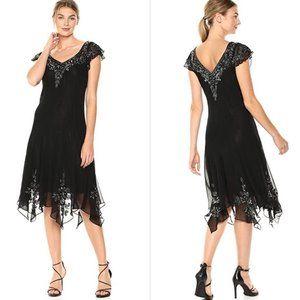 Flutter Sleeve Hanky Hem Short Cocktail Dress